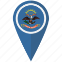 american, dakota, flag, north, pin, state icon