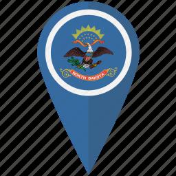 american, dakota, flag, north, pin, state icon