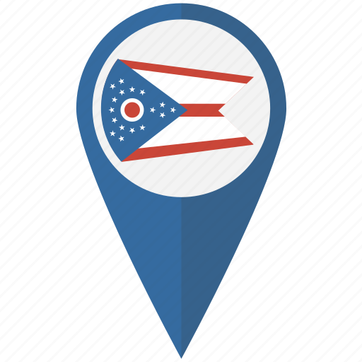 american, flag, ohio, pin, state icon