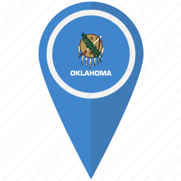 american, flag, oklahoma, pin, state icon