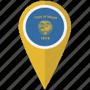 american, flag, oregon, pin, state icon