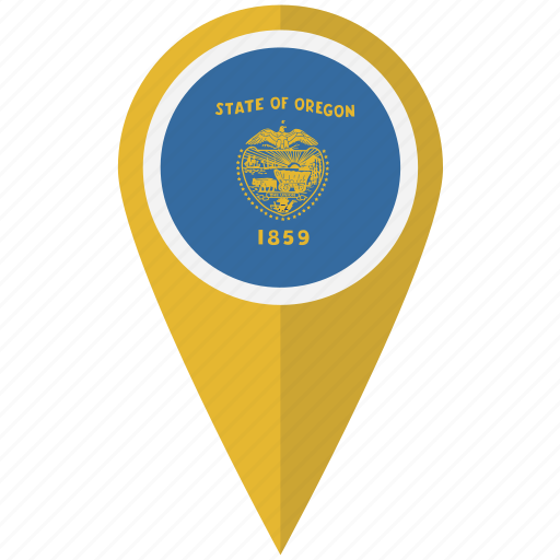 american, flag, oregon, pin, state icon