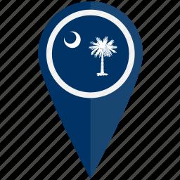american, carolina, flag, pin, south, state icon