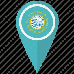 american, dakota, flag, pin, south, state icon