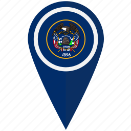 american, flag, pin, state, utah icon