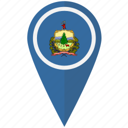 american, flag, pin, state, vermont icon