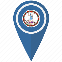 american, flag, pin, state, virginia icon