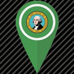 american, flag, pin, state, washington icon