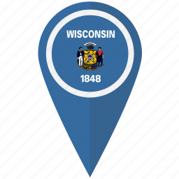 american, flag, pin, state, wisconsin icon