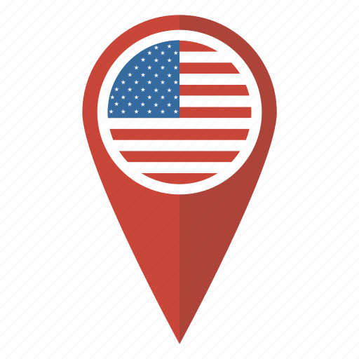 america flag map pin pointer us usa icon