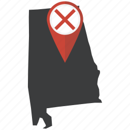 alabama, american, flag, location, map, pin, state icon