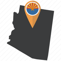 american, arizona, flag, map, marker, navigation, state icon