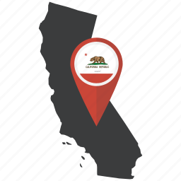 america, california, flag, location, map, state, united states icon