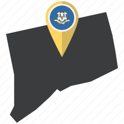 american, connecticut, flag, map, marker, pin, state icon