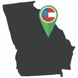america, flag, georgia, map, navigation, state, united states icon