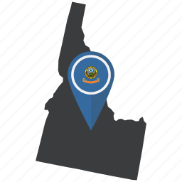flag, idaho, map, marker, pin, state, united states icon