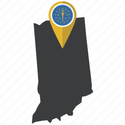flag, indiana, map, marker, navigation, state, united states icon