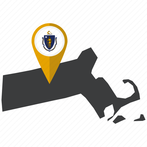 flag, map, marker, massachusetts, pin, state, united states icon