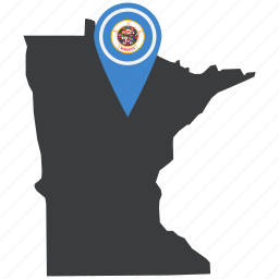 flag, map, marker, minnesota, pin, state, united states icon