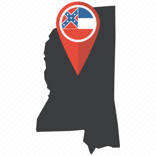 flag, map, marker, mississippi, navigation, pin, state icon