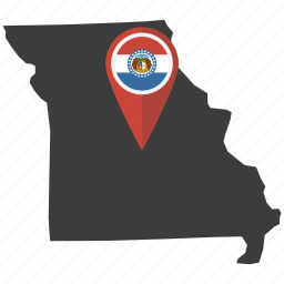flag, map, missouri, navigation, pin, state, united states icon