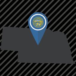 flag, map, nebraska, pin, pointer, state, united states icon