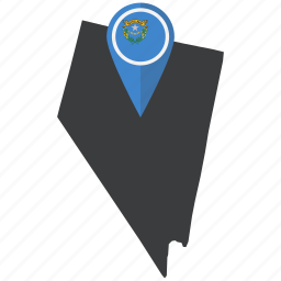 flag, map, marker, nevada, pin, state, united states icon