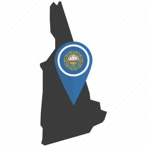 flag, map, navigation, new hampshire, state, united states icon