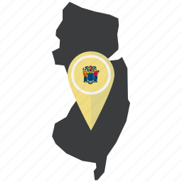 american, flag, map, new jersey, pin, pointer, state icon
