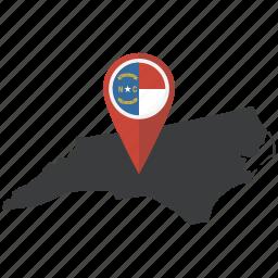 american, flag, map, marker, navigation, north carolina, state icon