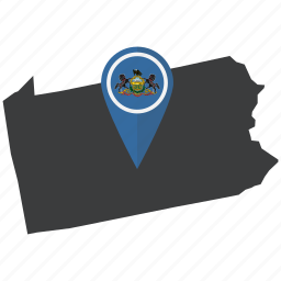 america, flag, map, navigation, pennsylvania, state, united states icon
