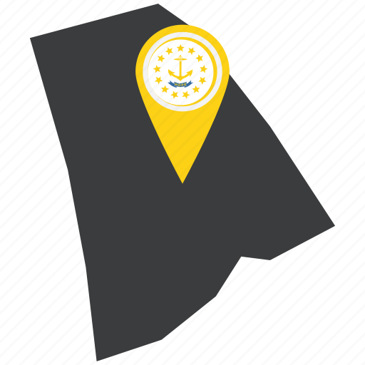 flag, map, marker, pin, rhode island, state, united states icon