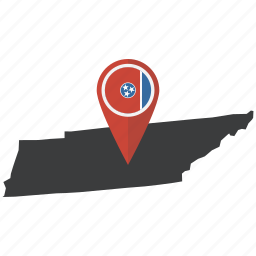 flag, map, marker, navigation, state, tennessee, united states icon
