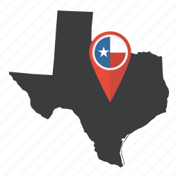 america, flag, map, pin, state, texas, united states icon