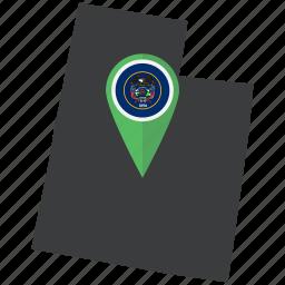 american, flag, map, navigation, pin, state, utah icon