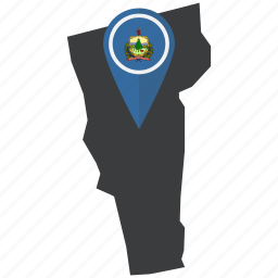 american, flag, map, marker, pin, state, vermont icon