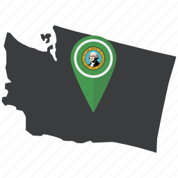 american, flag, map, navigation, pin, state, washington icon