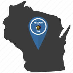 flag, map, navigation, pointer, state, united states, wisconsin icon