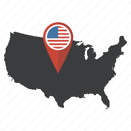america, flag, map, marker, pin, united states, usa icon