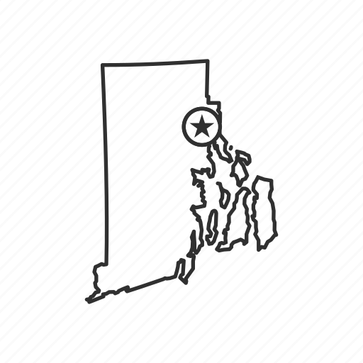 american state, capital, geography, map, providence, rhode island, state icon