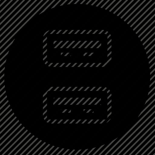 double, pc, ports, round, usb icon