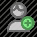 account, add, male, man, profile, user