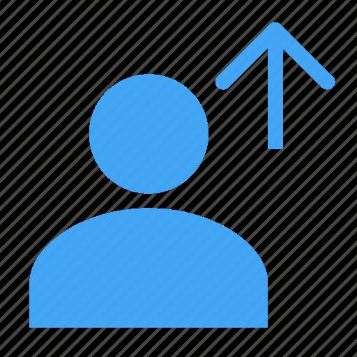 arrow, avatar, business, human, man, up, upload icon