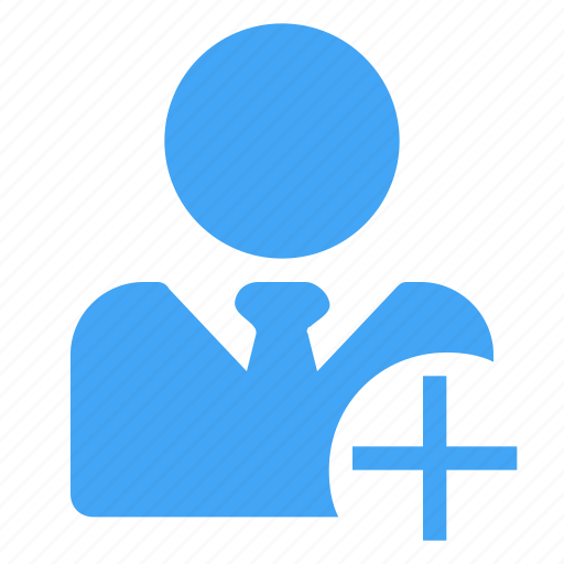 add, business, male, manager, new, plus, user icon