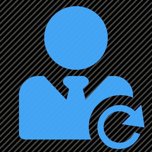 arrow, avatar, man, refresh, reload, sync, user icon