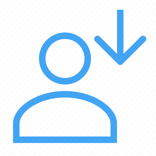 avatar, business, down, download, male, user icon