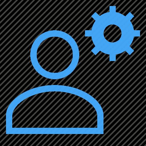 avatar, business, gear, male, man, settings, user icon