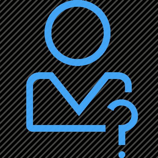 avatar, help, male, man, profile, question, user icon