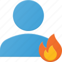 action, burn, hot, people, user icon