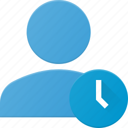 action, clock, people, time, user icon